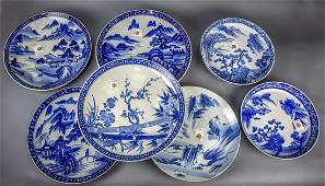 (lot of 7) Japanese Blue-and-White Chargers