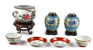 Chinese Enameled Porcelains Bowls Jars Saucers