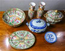 Chinese Export Blue-and-White Porcelain, Rose Medallion