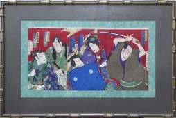 Japanese Woodblock Prints Triptych Kunichika 19c