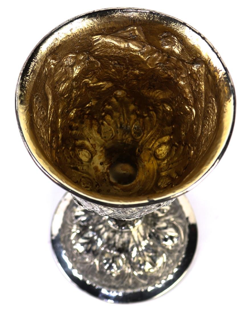 Silver cast wine goblet - 2