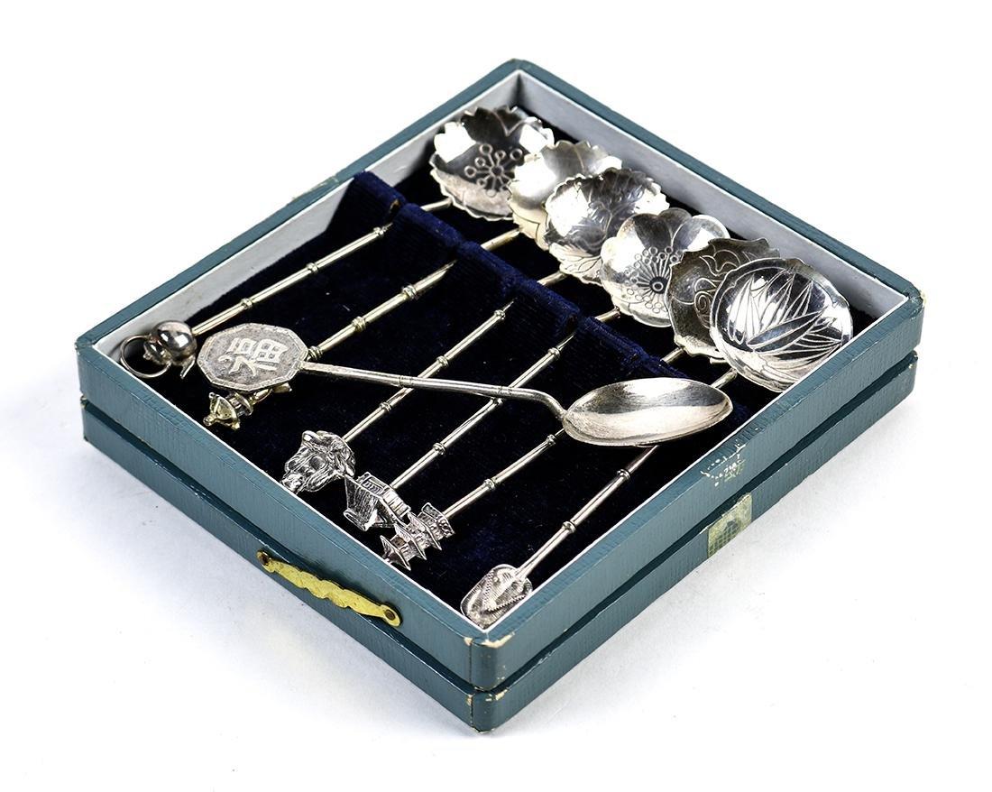 (lot of 7) Sterling silver demitasse spoon set,