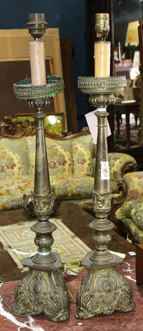 Pair of Italian Baroque style pricket table lamps