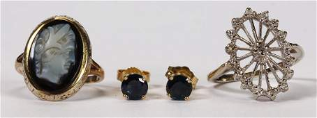 Lot of 3 Multistone diamond and gold jewelry