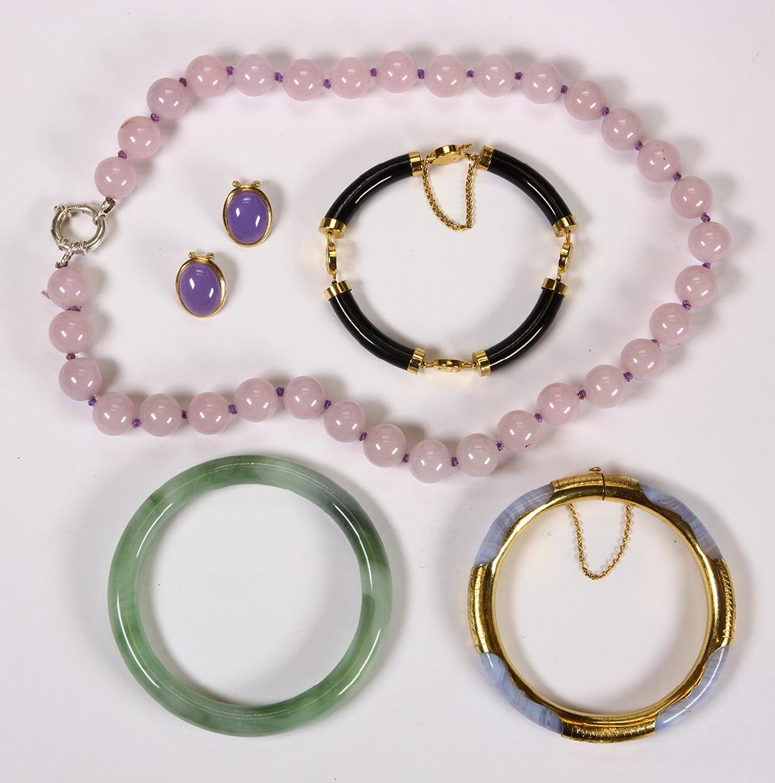 (Lot of 5) Multi-stone, glass, 14k and metal jewelry