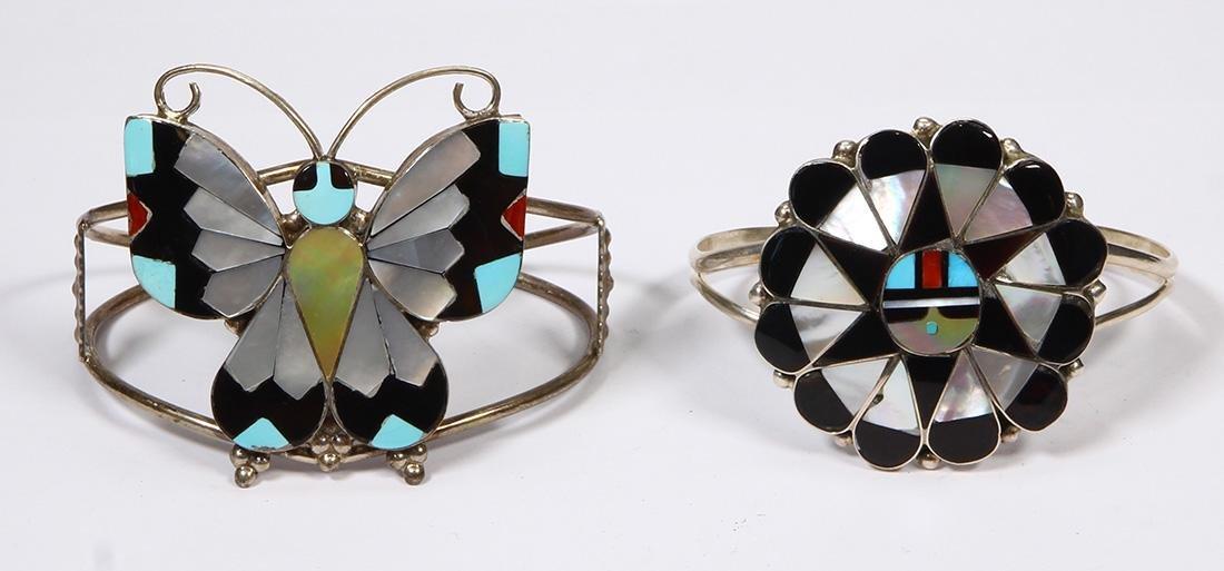 (Lot of 2) Native American multi-stone, sterling silver