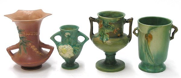 18: Roseville art pottery vases