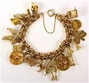Yellow gold, metal charm bracelet