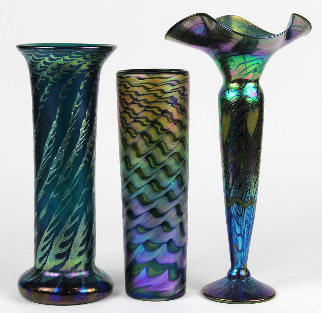 Lundberg Studios art glass group, consisting of a