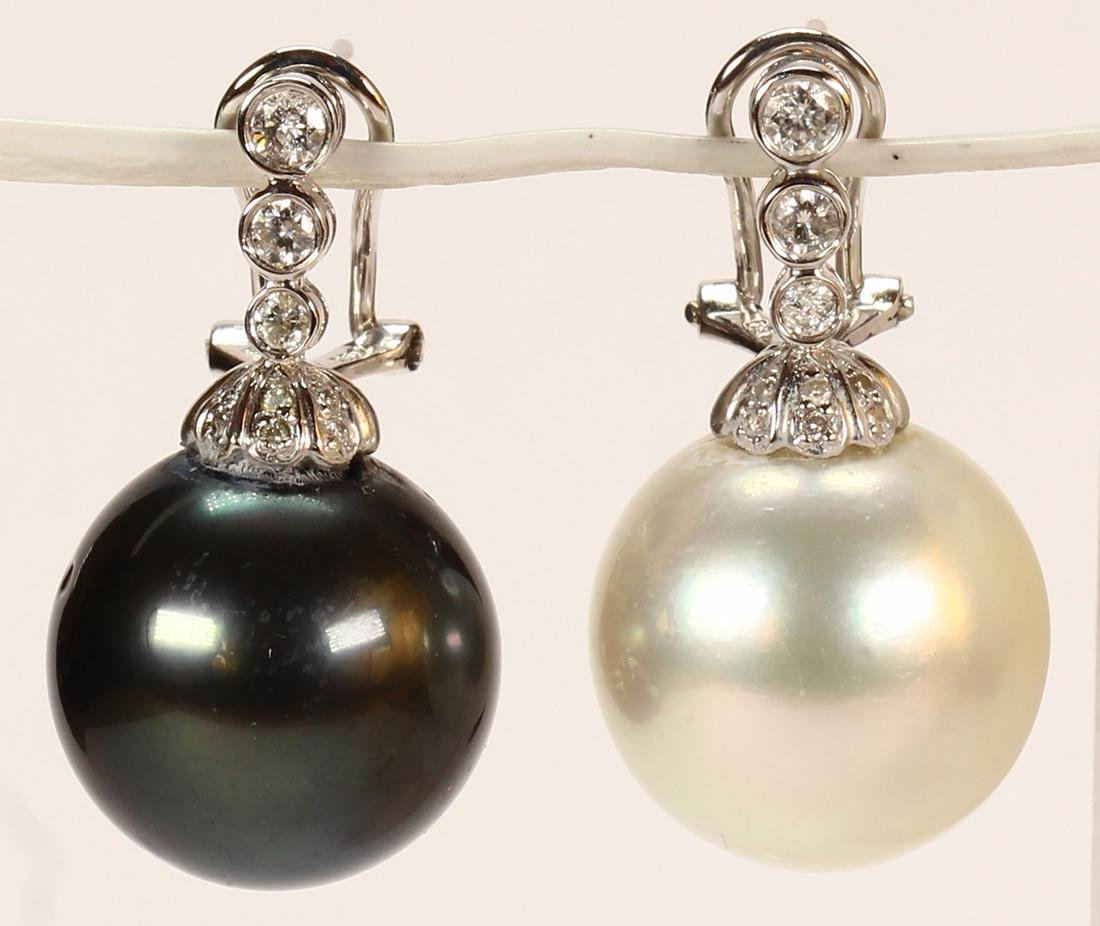 Pair of South Sea cultured pearl, diamond and 18k white
