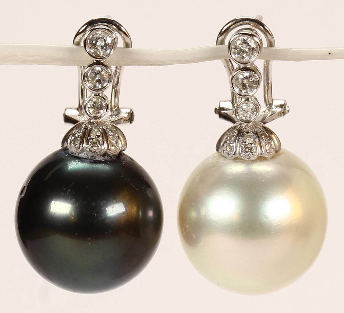Pair of South Sea cultured pearl, diamond and 18k white - 2