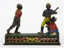 Dark Town Battery cast iron mechanical bank by by J. &
