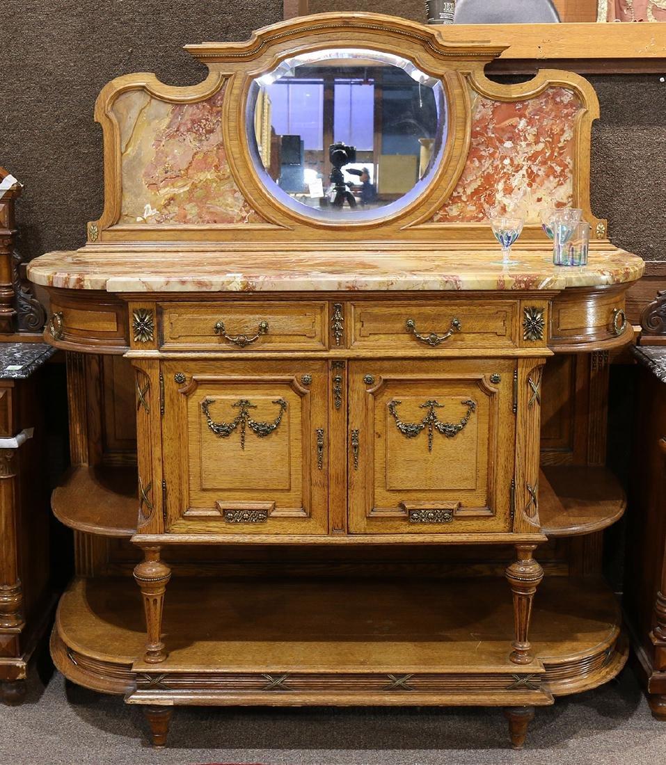 Louis XVI style mirrored back sideboard, the backsplash