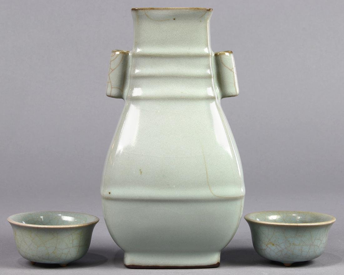 Chinese Guan-type Arrow Vase and Cups