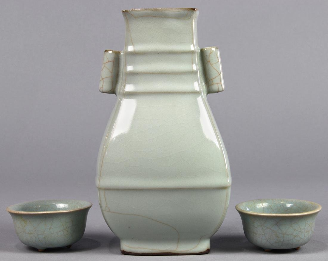 Chinese Guan-type Arrow Vase and Cups - 3