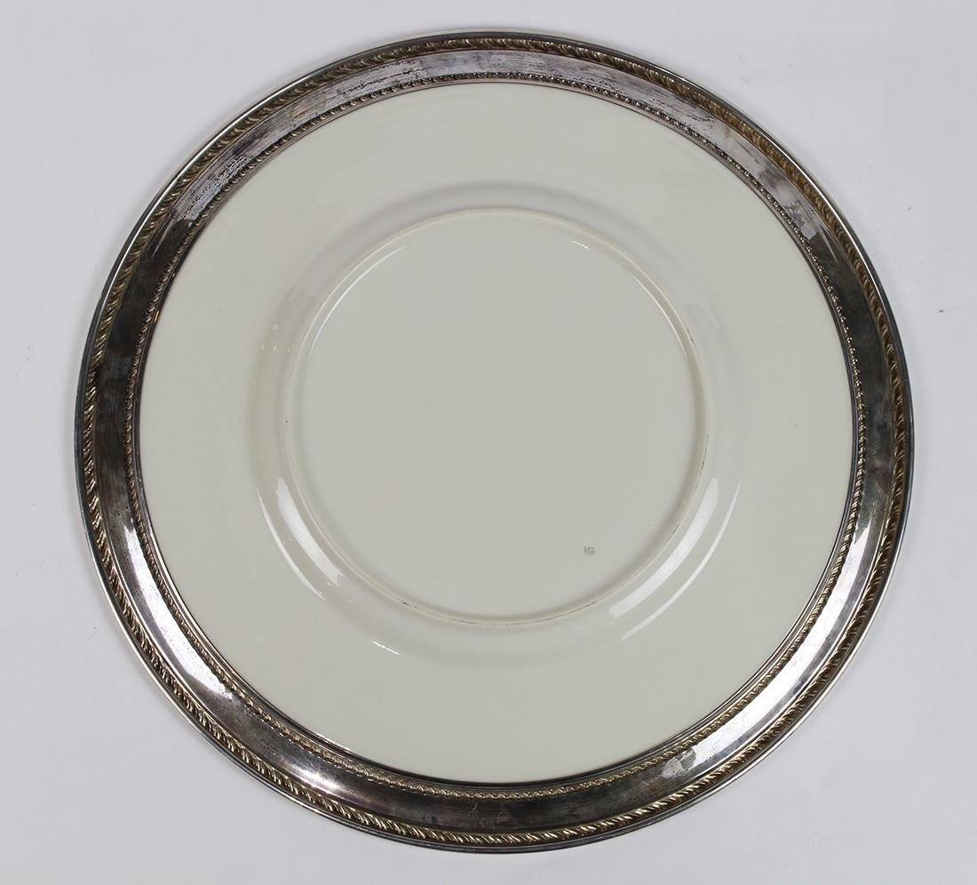 Sterling silver and porcelain charger, having a - 2