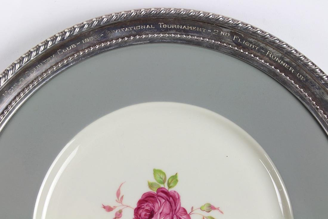 Sterling silver and porcelain charger, having a - 3