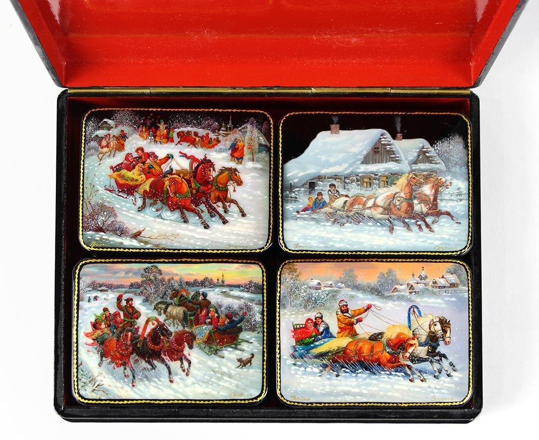 Russian Fedoskino lacquer box set - 2