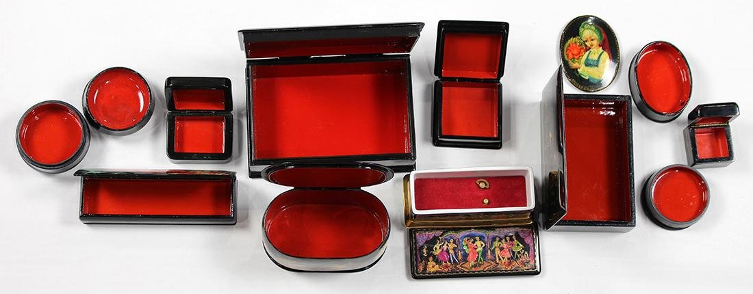 Russian Fedoskino lacquer box group - 2