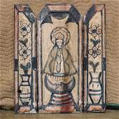 New Mexican three panel folk art carving of Madonna and