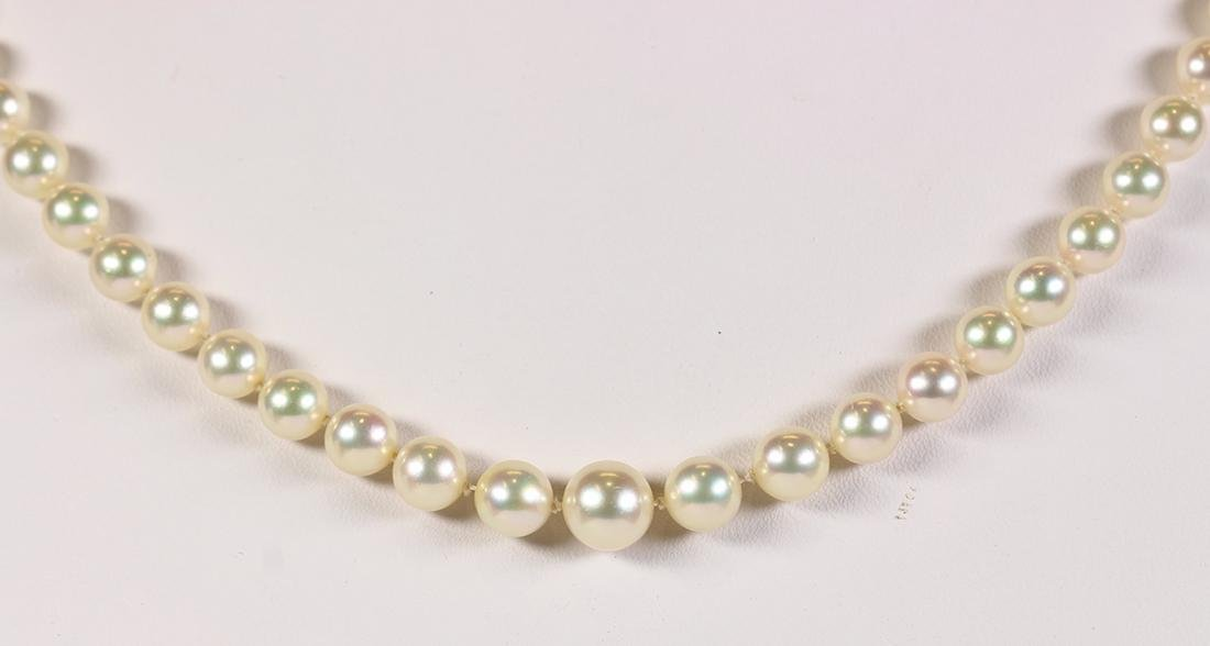 Cultured pearl and 14k white gold necklace