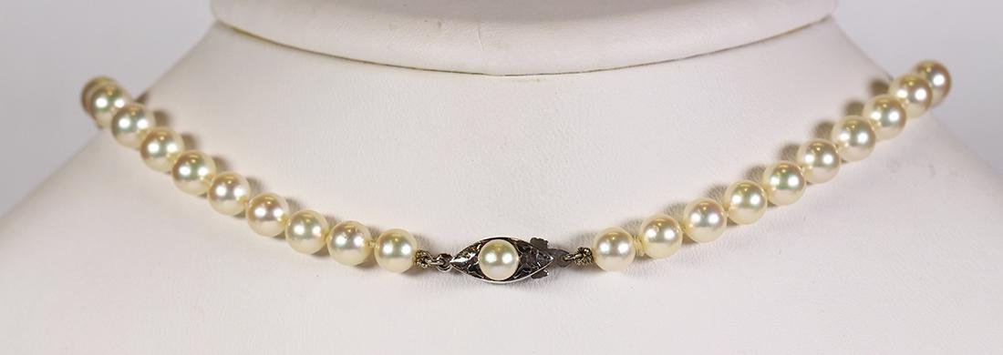 Cultured pearl and 14k white gold necklace - 2