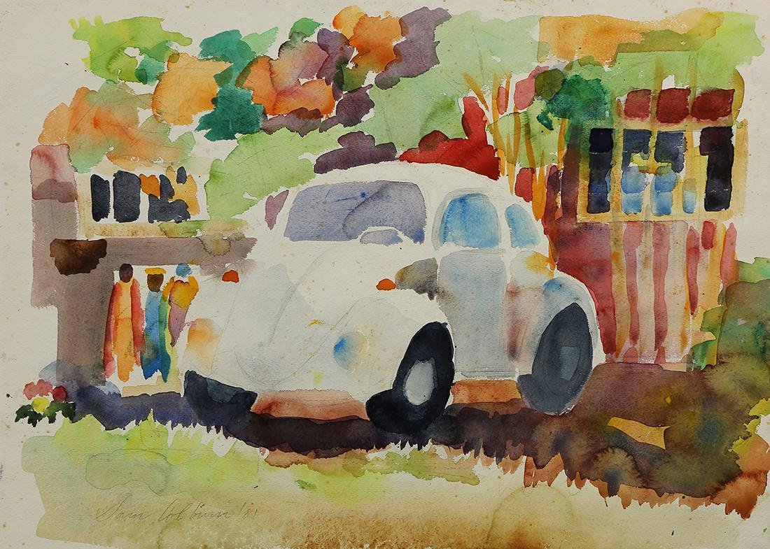 Watercolors, VW Bug and Floral Study