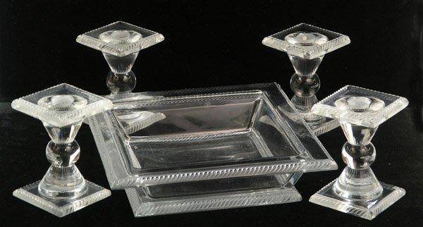 6005: Lalique glass bowl candlesticks