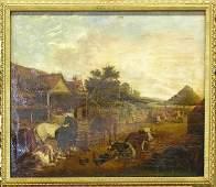 6175 Oil canvas farm European 19th century