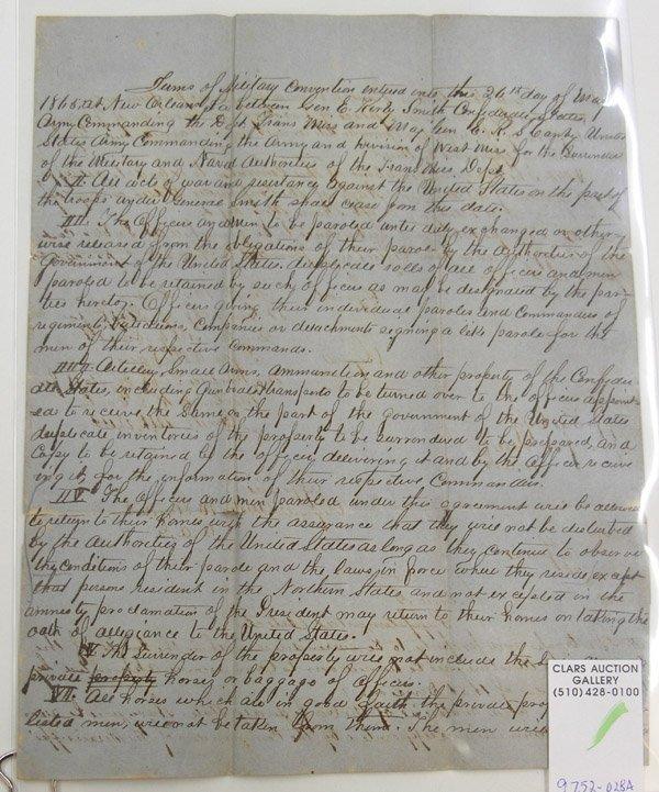 6736: Civil War Surrender papers ephemera