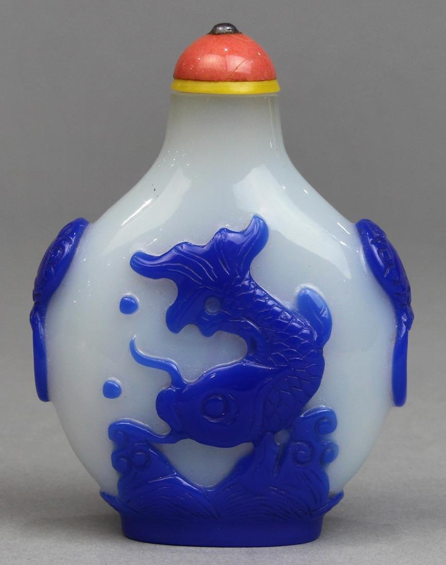 Chinese Blue Overlay White Glass Snuff Bottle, Fish