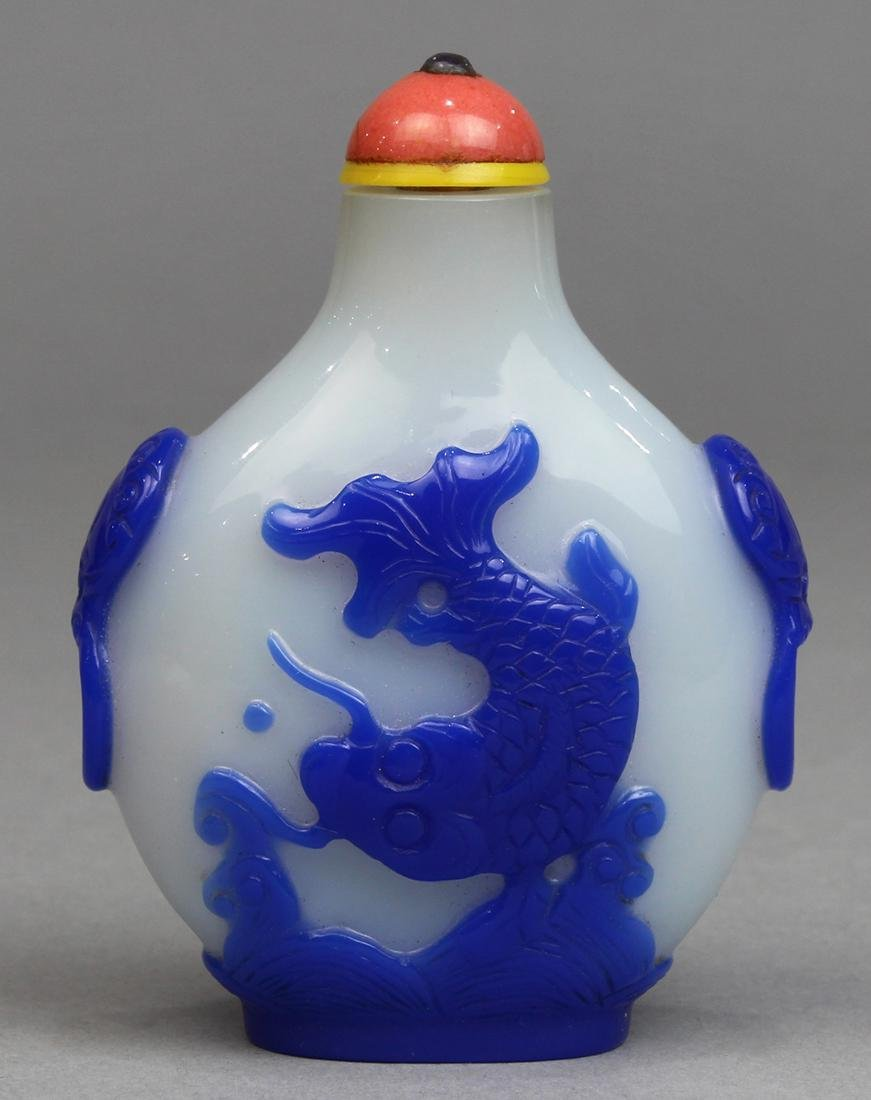 Chinese Blue Overlay White Glass Snuff Bottle, Fish - 2