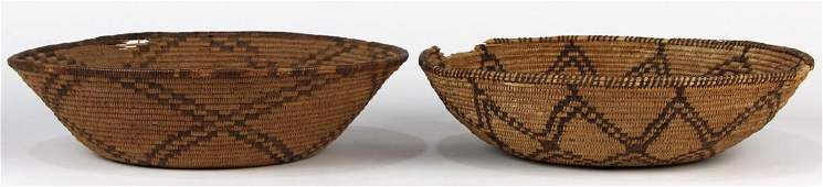 (lot of 2) Apache coiled basket group, each with a