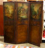 Handpainted 3 panel leather screen