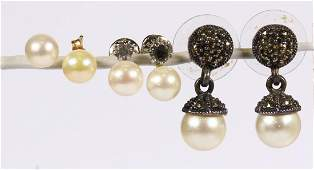 Collection of cultured pearl, imitation pearl, yellow