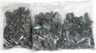 (Lot of 3) Bags of rough turquoise, coral and jasper