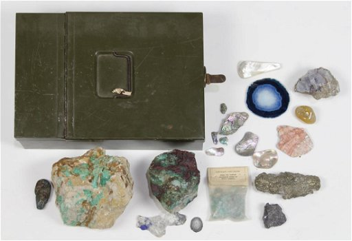 Collection of rock and mineral specimens and metal box
