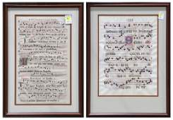 Illuminated Antiphonal pages on paper and vellum