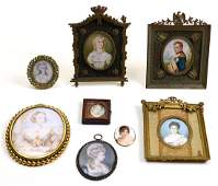 (lot of 8) French hand painted porcelain miniature