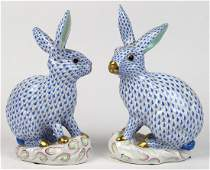 (lot of 2) Herend hand painted porcelain rabbits