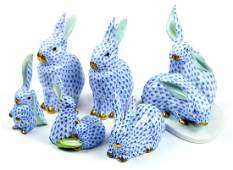 (lot of 6) Herend hand painted porcelain rabbits