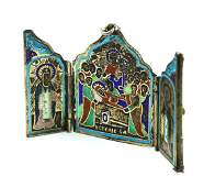 Russian .84 silver and enamel traveling triptych icon
