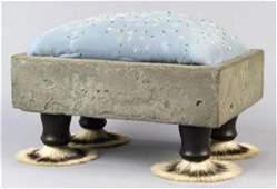 Folk Art foot stool, havig an embroidered cushion,