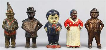 (lot of 5) Cast iron figural still/penny banks,