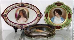 (lot of 7) Royal Vienna portrait plate group,