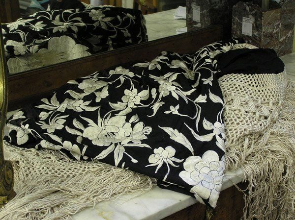 87: Chinese Black and White Silk Embroidery