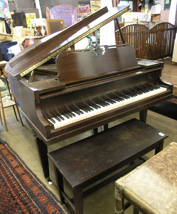 209: Bush, Lane mahogany baby grand piano