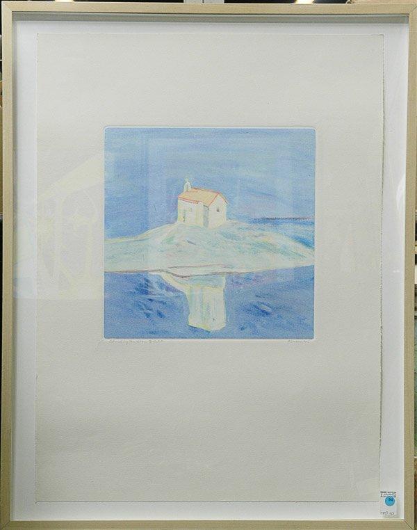 362: Monoprint Church by the Sea Greece