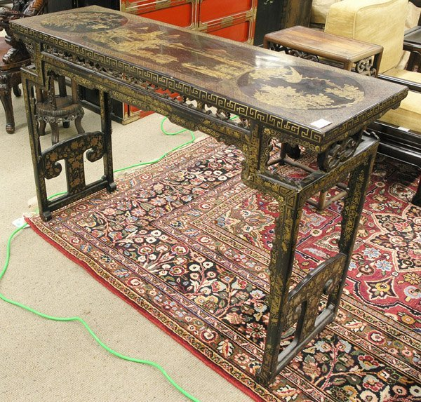 2516: Chinese Gilt and Black Lacquered Table