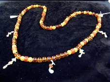 2532: Chinese Amber Mandarin Necklace, Qing